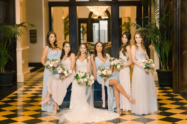 bridesmaids in mismatched blue and grey