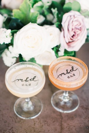 wedding cocktails with custom drink toppers