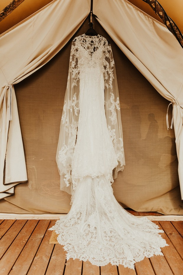Lacey wedding dress with cape