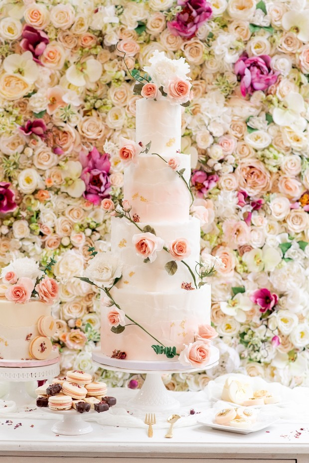 four tier blush wedding cake