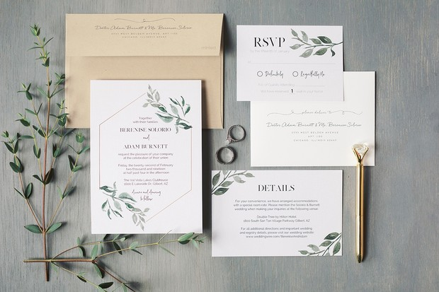 modern and simple wedding invitation suite