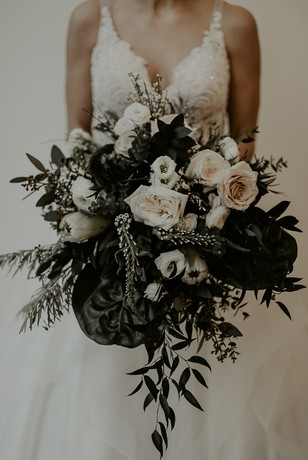neutral white and blush wedding bouquet