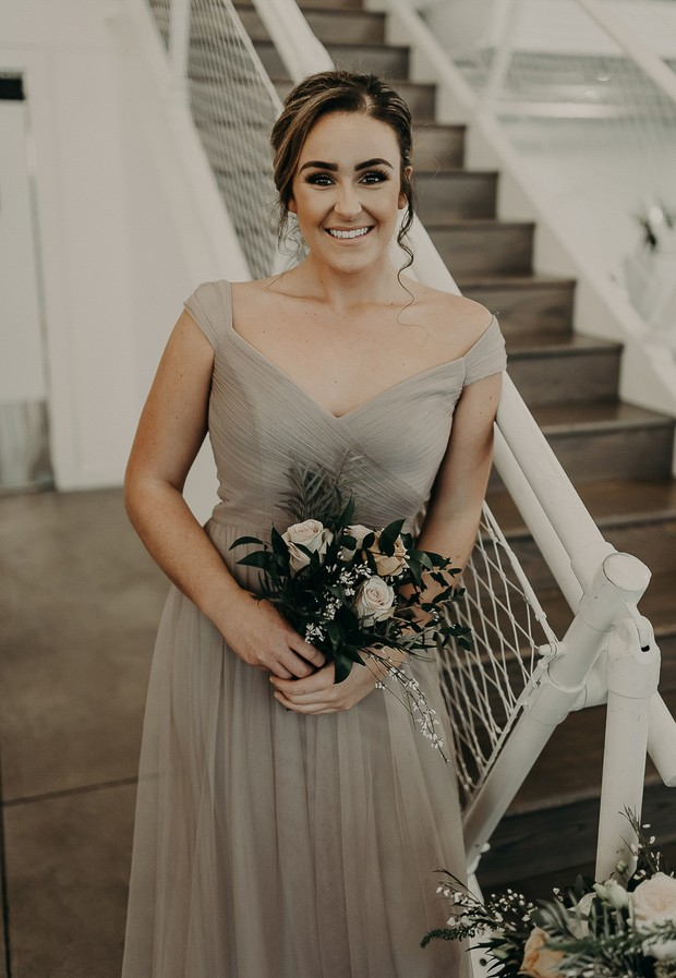bridesmaid in smokey grey dress