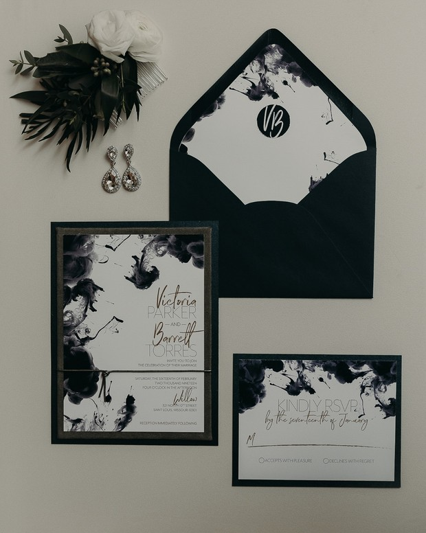 black and white ink blot wedding invitations