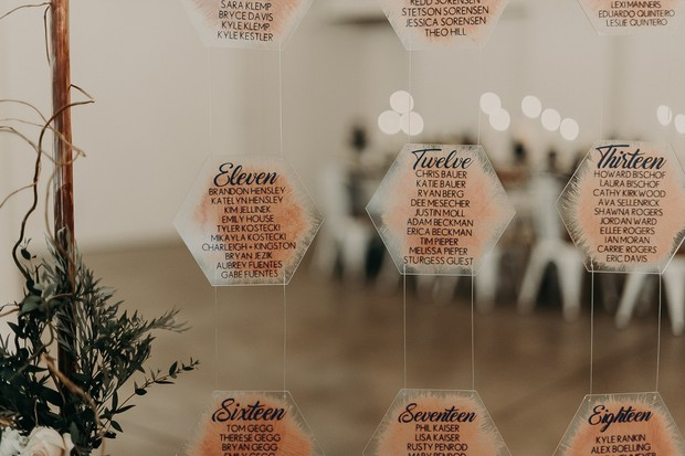 hanging seating assignment display