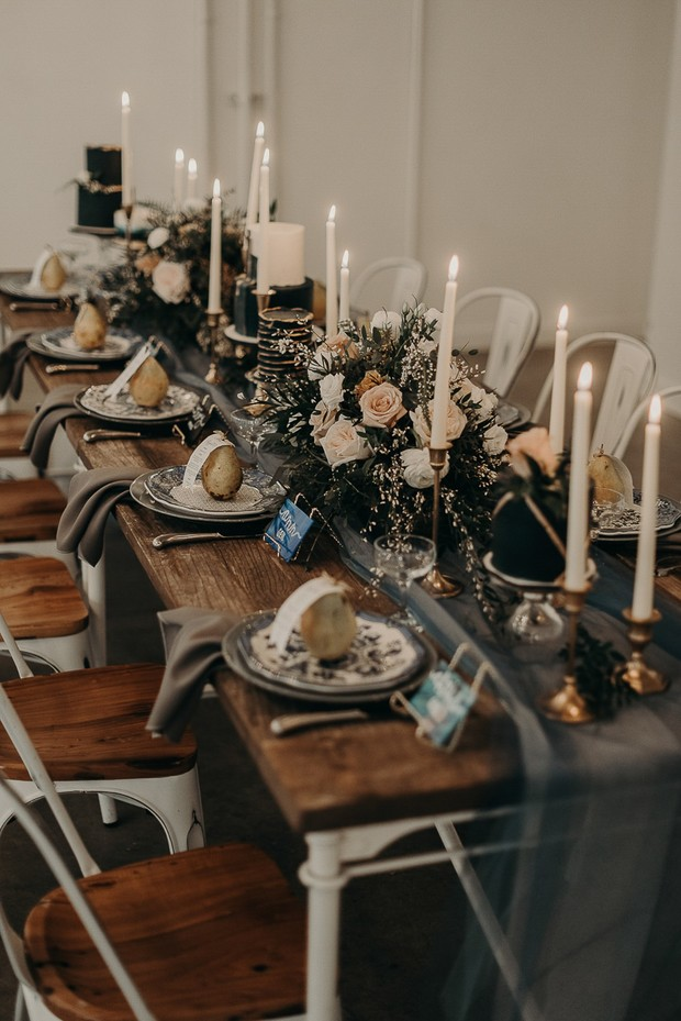 romantic neutral toned and dramatic table decor