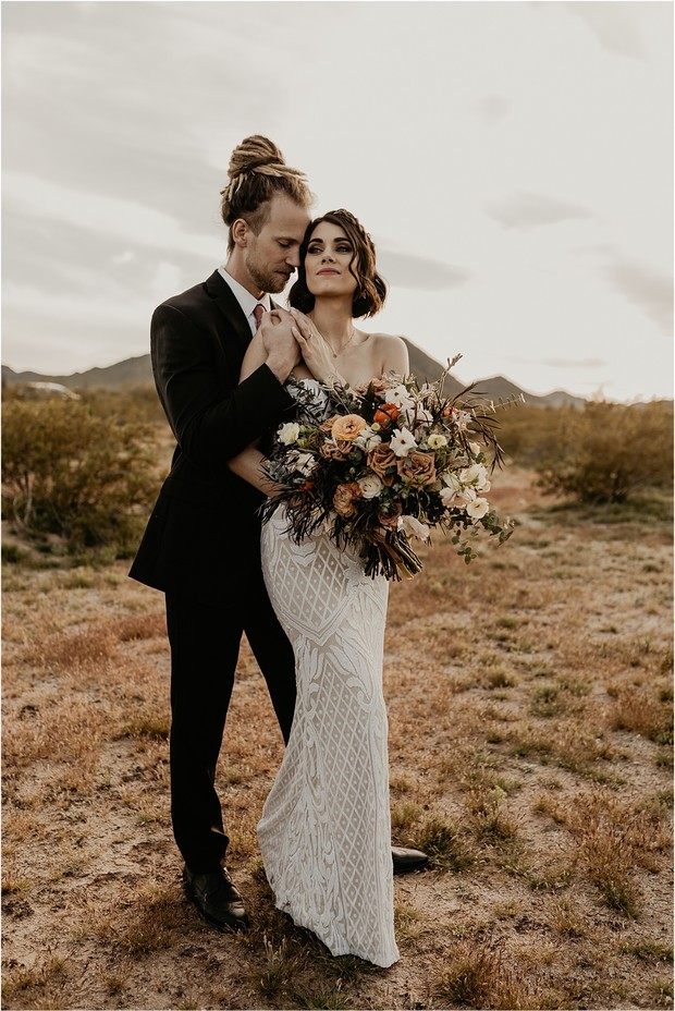 bohemian grunge bride and groom