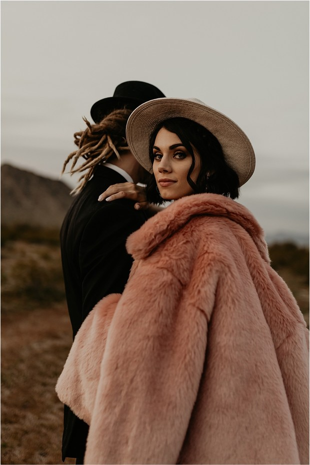 pink faux fur wedding coat