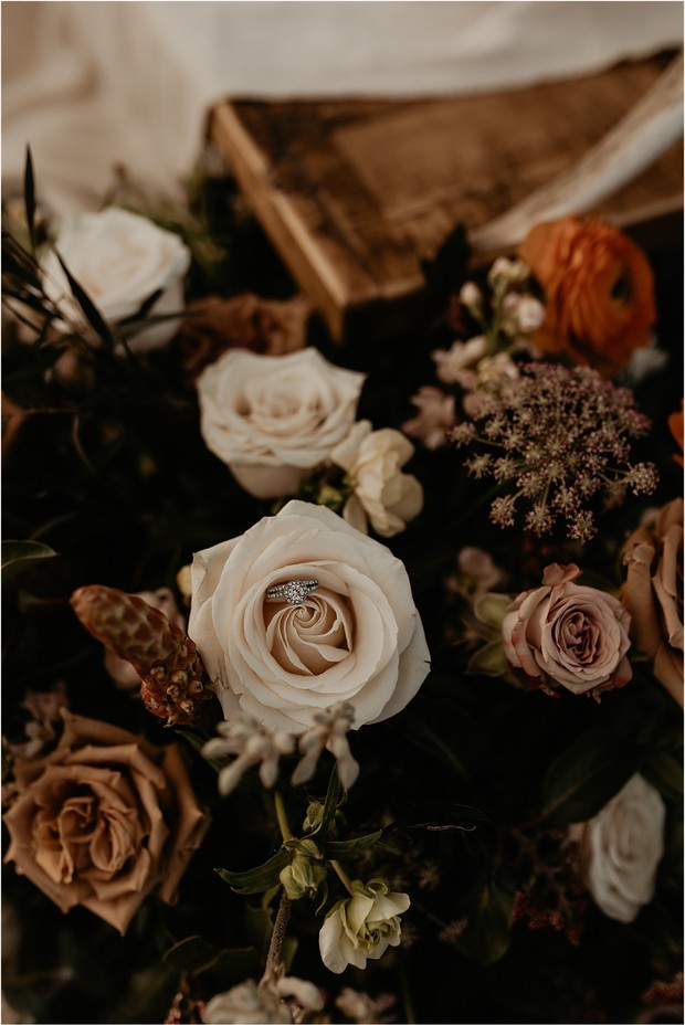 wedding flowers and wedding ring