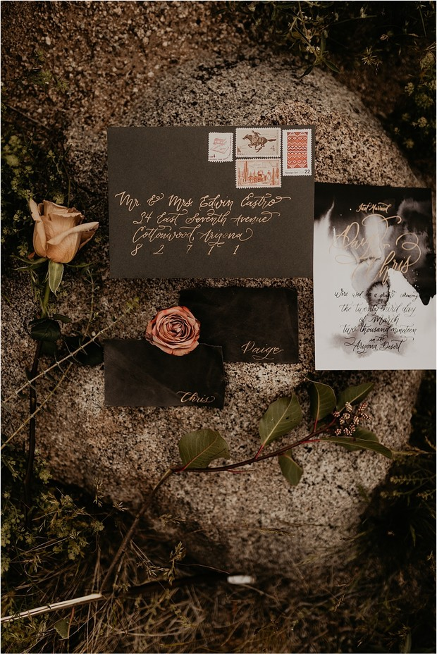 bohemian grunge wedding invitation suite