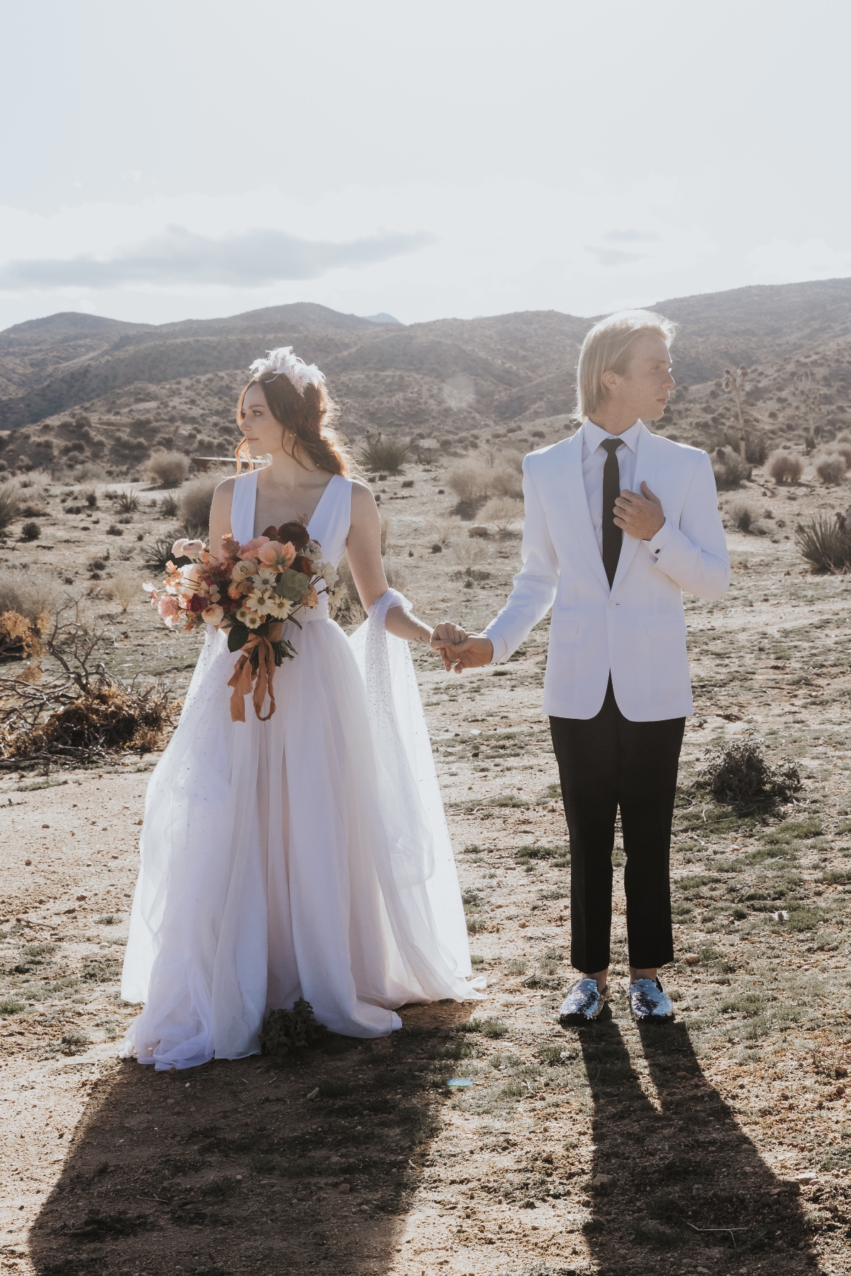 modern bride and groom style at Joshua Tree