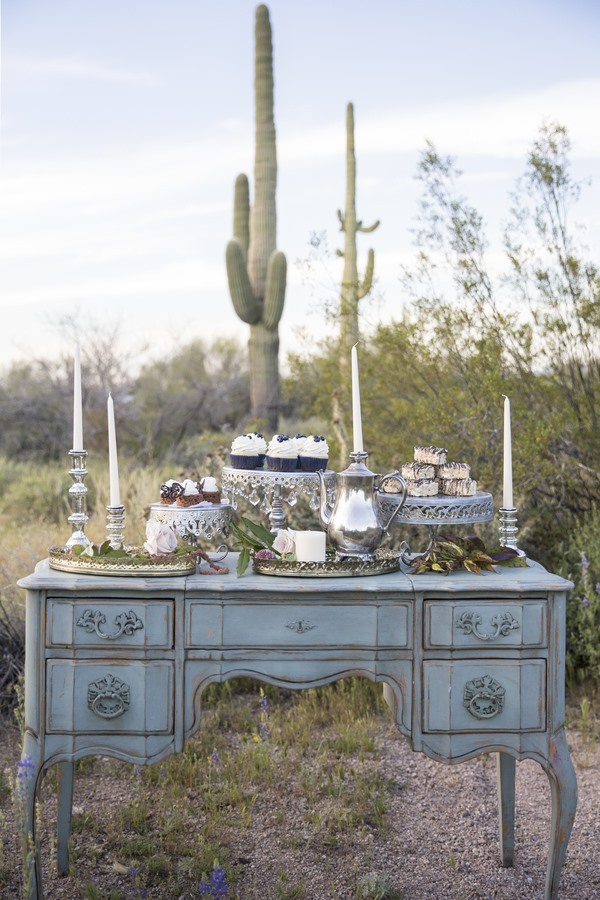 Vintage Dessert Vibes Styled Wedding Shoot with Opulent Treasures antique silver cake stands ...