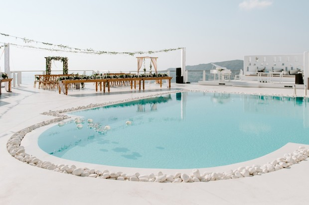 swimming pool side wedding reception