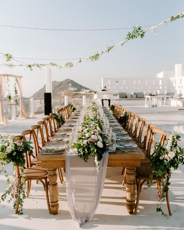rustic family style wedding table idea