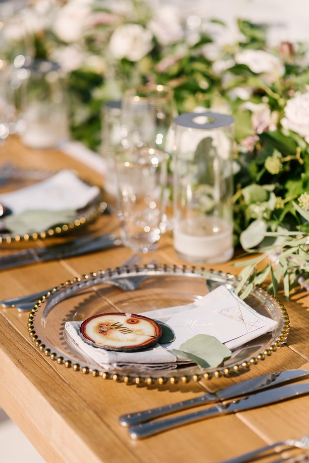 glam rustic wedding place setting