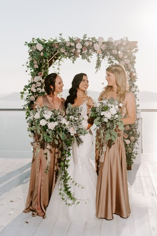 bridesmaids in bronze dresses