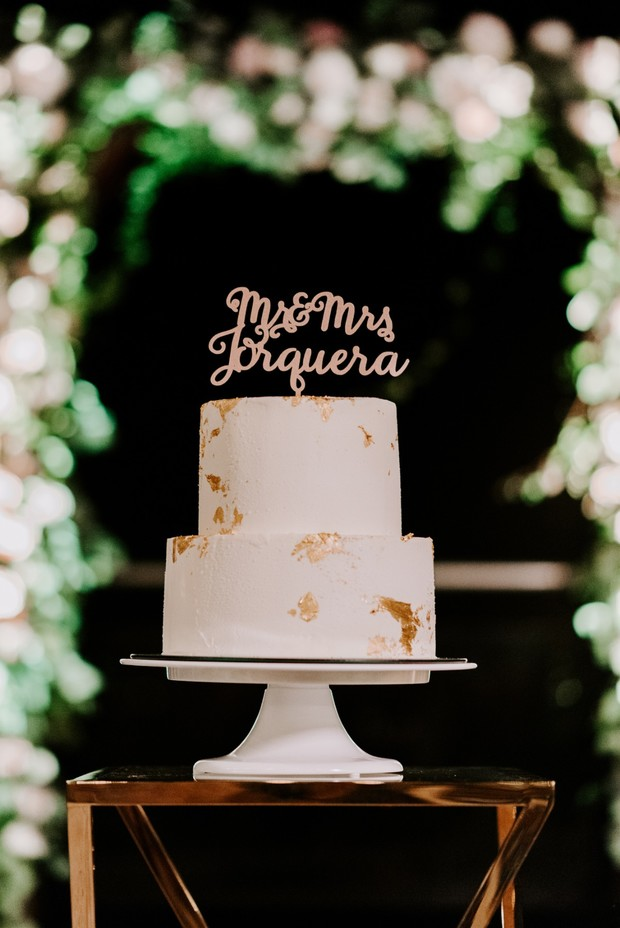 gold flecked wedding cake