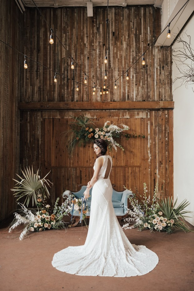 modern boho inspired wedding dress