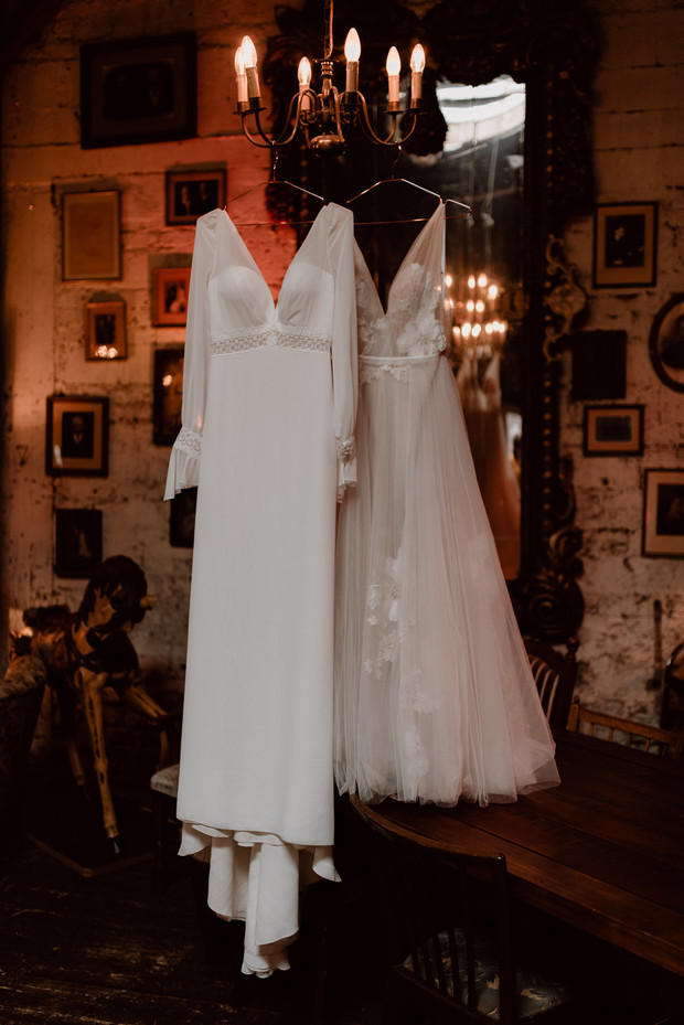 two wedding dresses