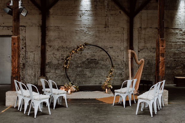 industrial romantic wedding ceremony deocor