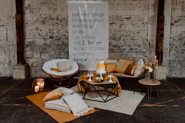 industrial vintage inspired wedding lounge