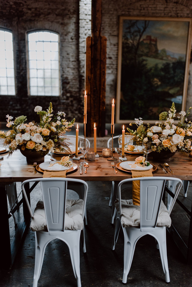 romantic industrial wedding reception idea