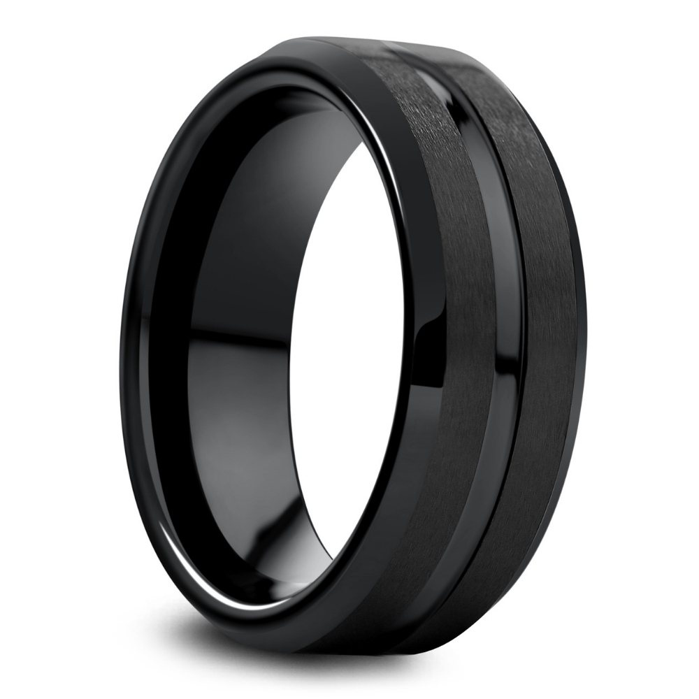 Mens Modern Black Tungsten Wedding Band. Part of the Modern Bold Collection. Featuring all black wedding rings either crafted out of