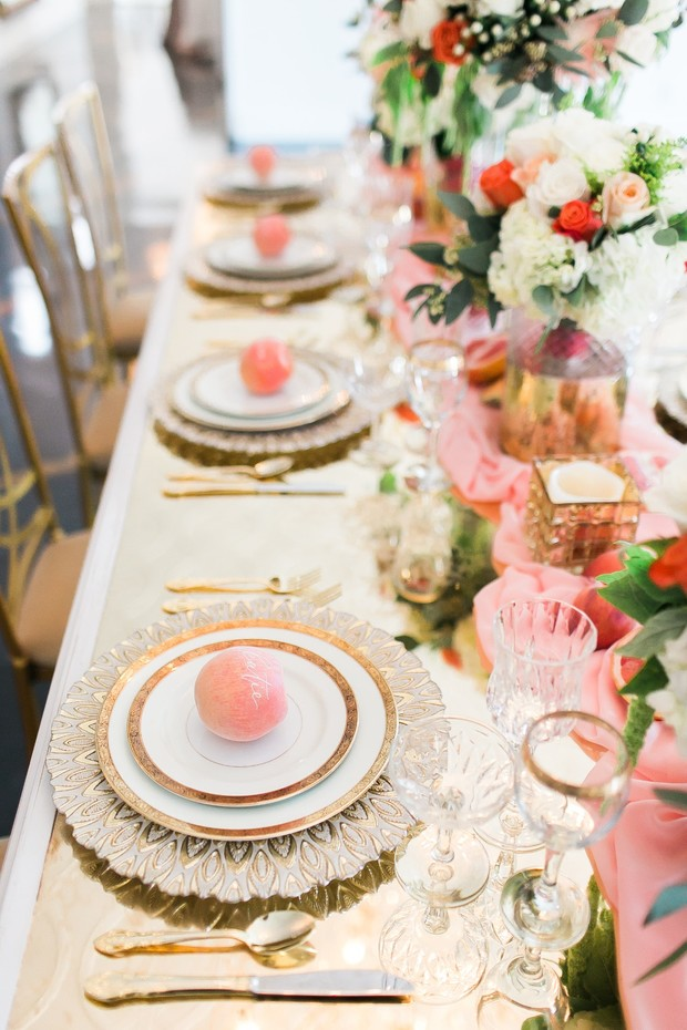 gold and peach glam wedding table