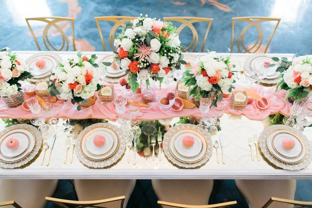 springtime wedding table with gold glam style