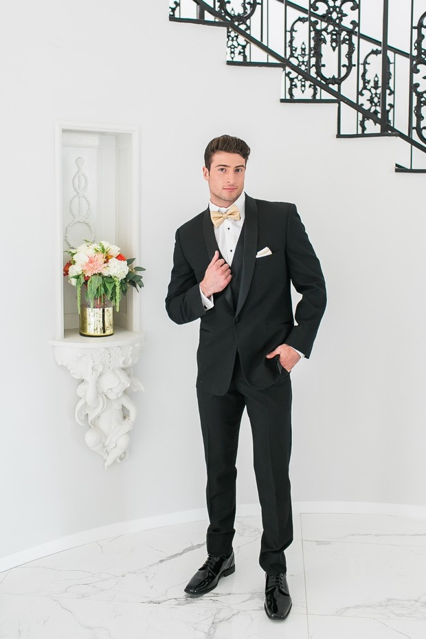 formal gold and black groom style