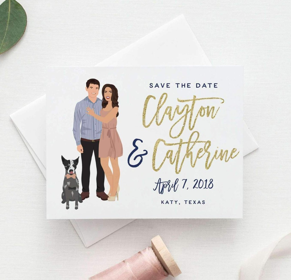 Our Penny Style Wedding Save the Date cards are the perfect way to let guests know to save the date, and feature an a custom illustrated