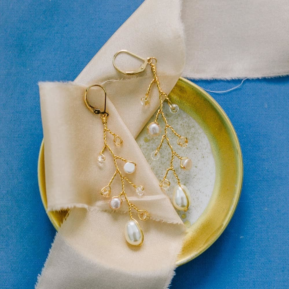 Signature J'Adorn Designs branches in crystals & pearls 💕 How would you style these delicate drop earrings?