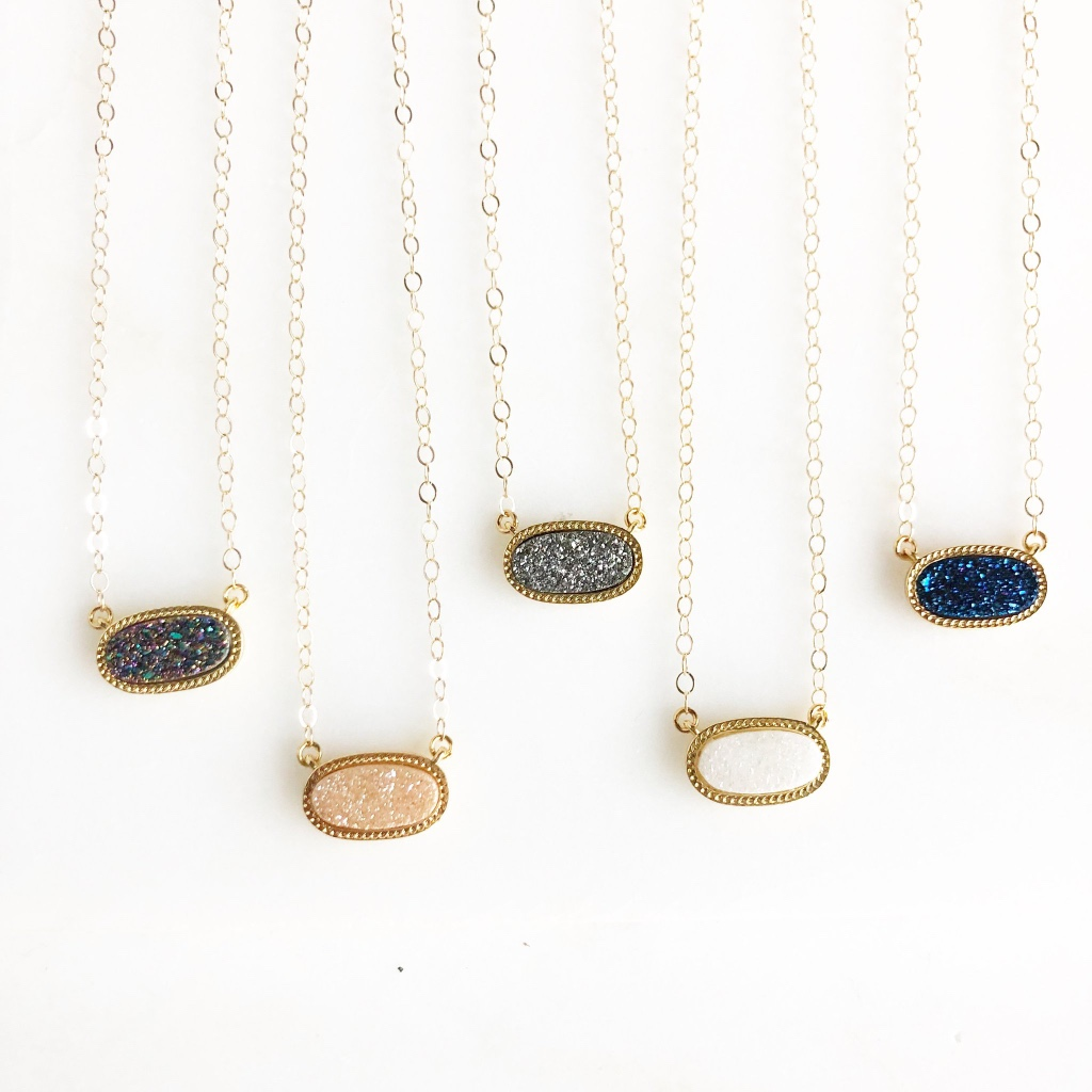 "The stones are small, about .75 inches across. The necklaces are 17"" on 14k gold filled chain."