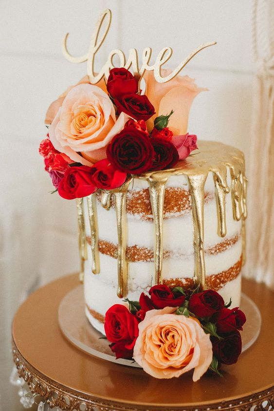 Wedding Cake Inspiration...Gorgeous Gold Foil Drip Cake by Trudy Melissa Cakes. Cake Stand by Opulent Treasures. Wedding Photography