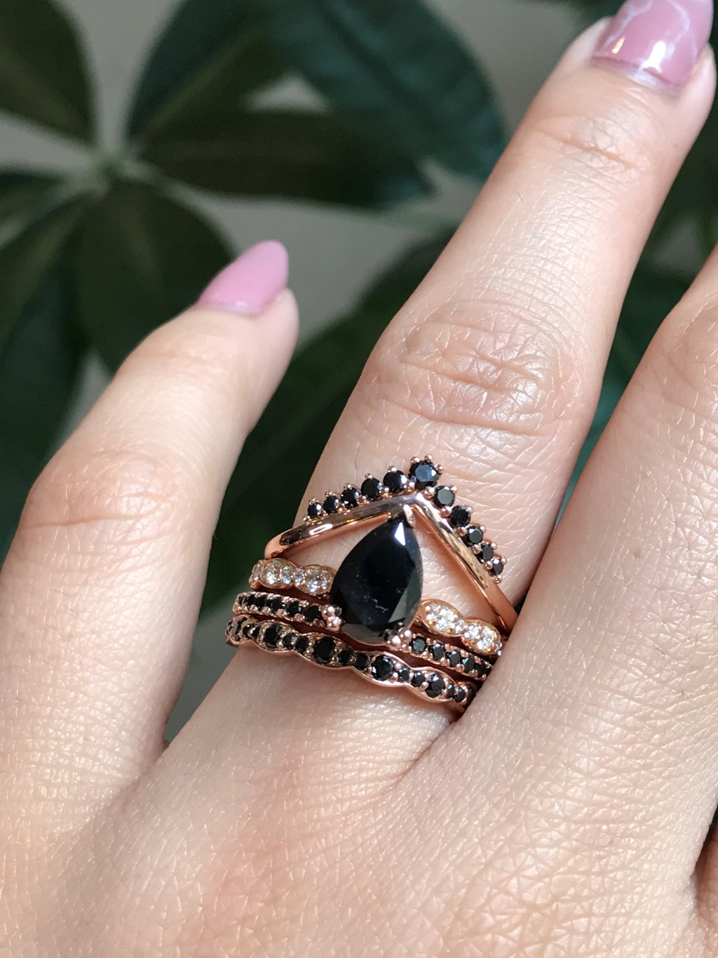 Mysterious yet romantic, black diamonds have stolen our hearts ~ She's a Pear Black Diamond in Solitaire style stacked with a Black