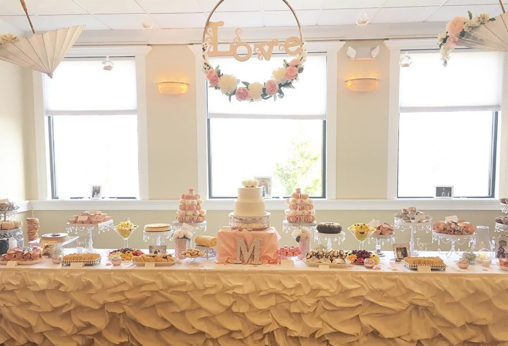 Bridal Shower Dessert Table by Della Details featuring Opulent Treasures collection of white chandelier cake and dessert stands and
