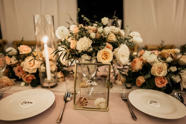blush and gold beach themed wedding table decor