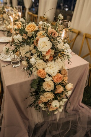 cascading floral table decor