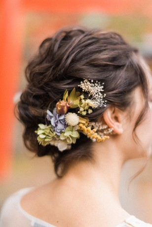 wedding hair with floral accents