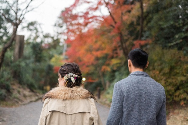 wedding couple in the fall