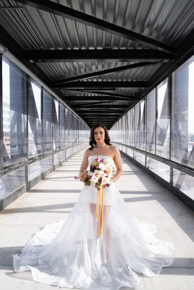 modern wedding dress with sheer skirt