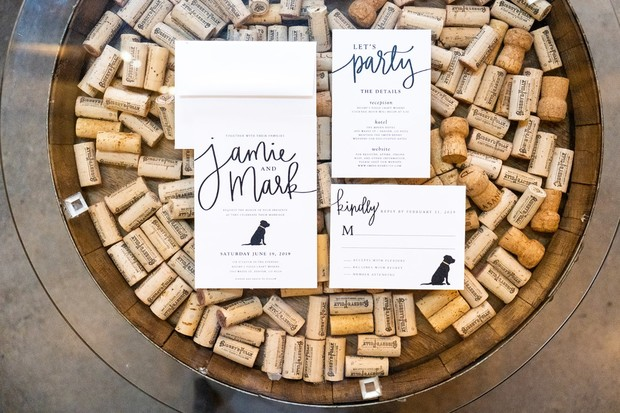wedding invitation suite with dog