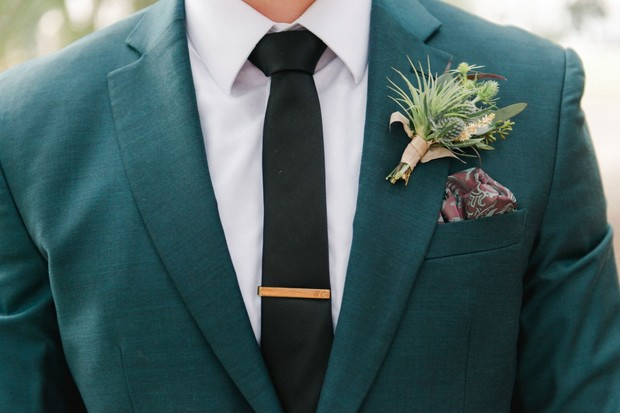 deep green groom suit