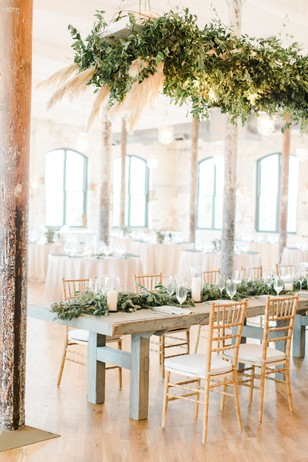 wedding table with greenery halo