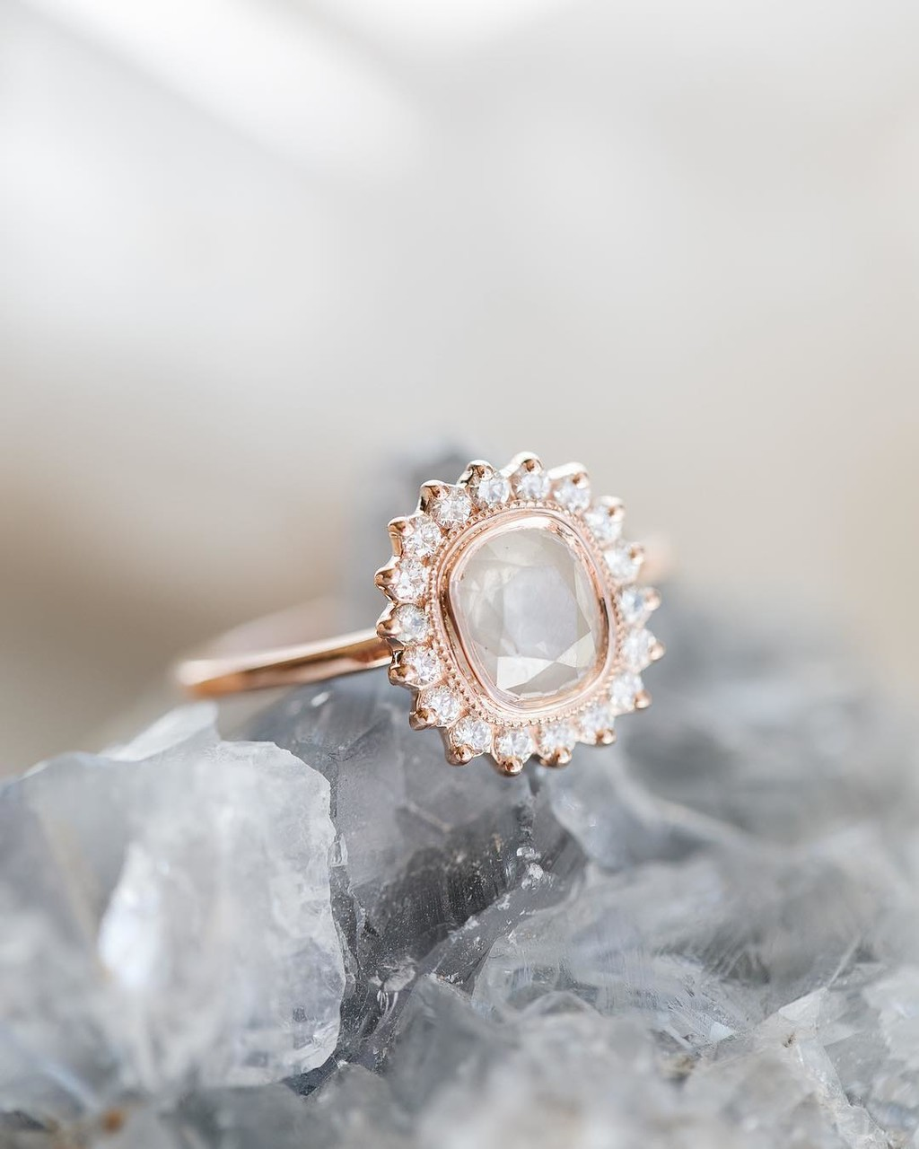 Can't get enough of this rough diamond starburst halo ring available in store now!