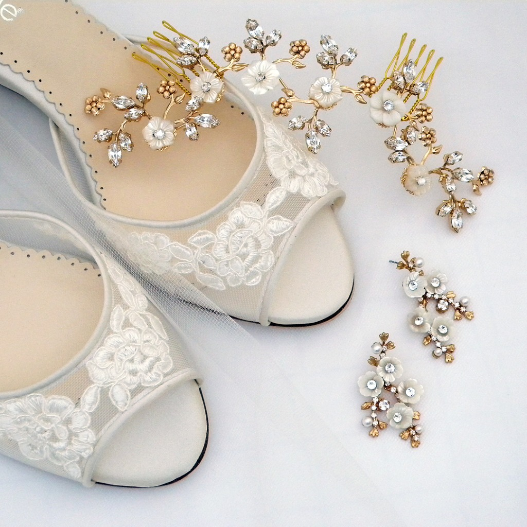 What's prettier than Bella Belle Lace Wedges for a Garden Wedding? Also wearing earrings & hair accessories from Elizabeth Bower