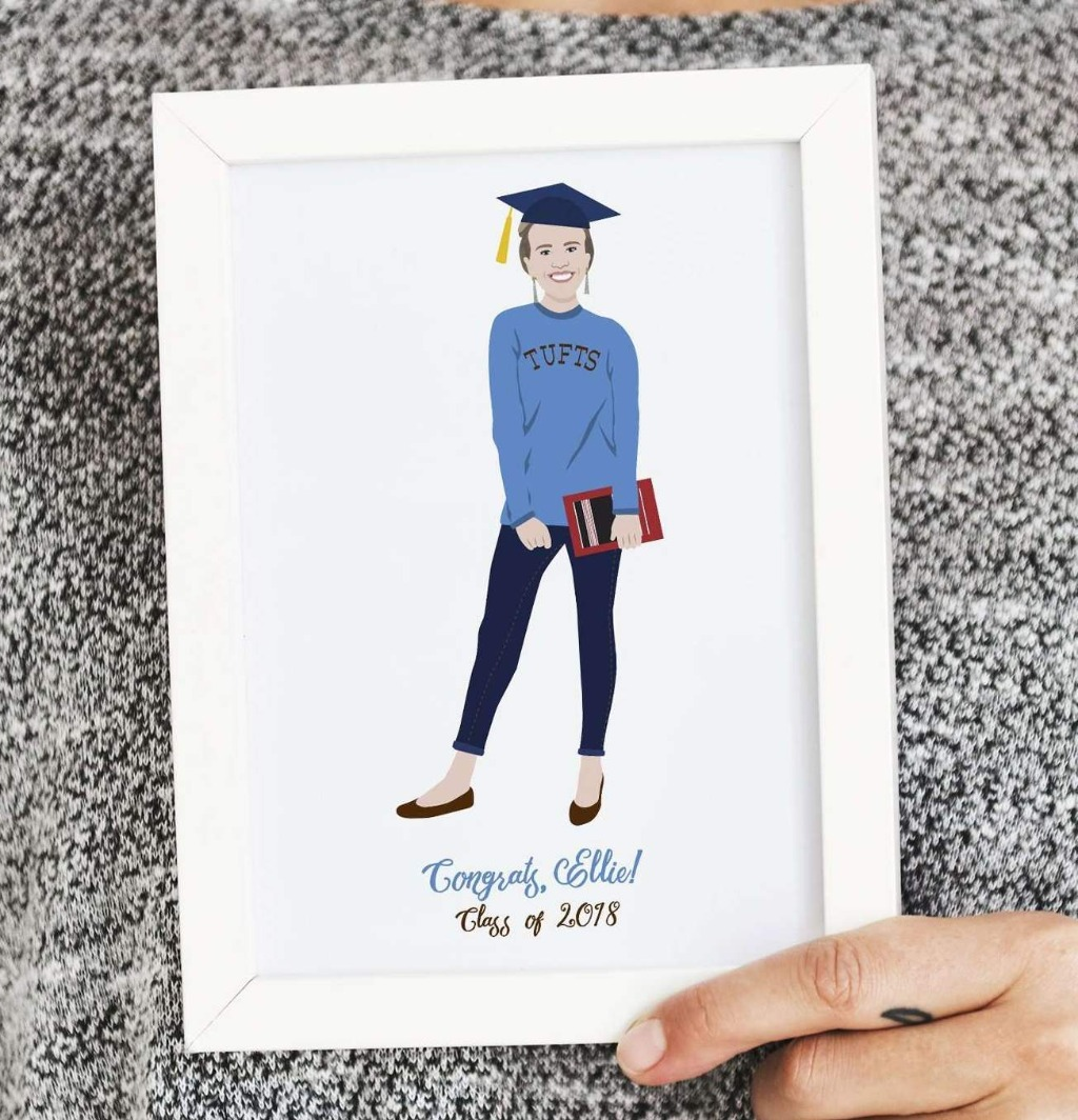 Looking for the perfect graduation gift? This custom portrait illustration is the perfect way to show your new grad how proud you are
