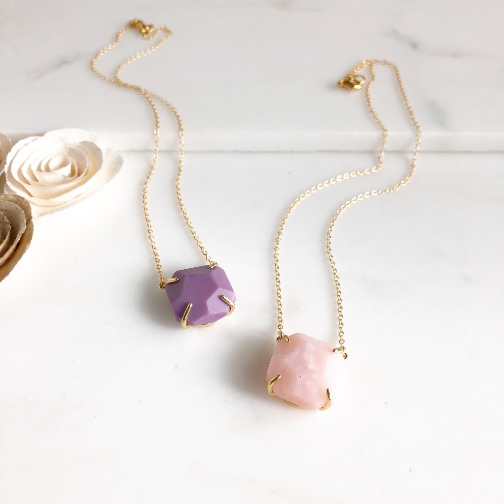 Chunky Stone Necklace in Gold. On 14k gold filled chain. 18 long.