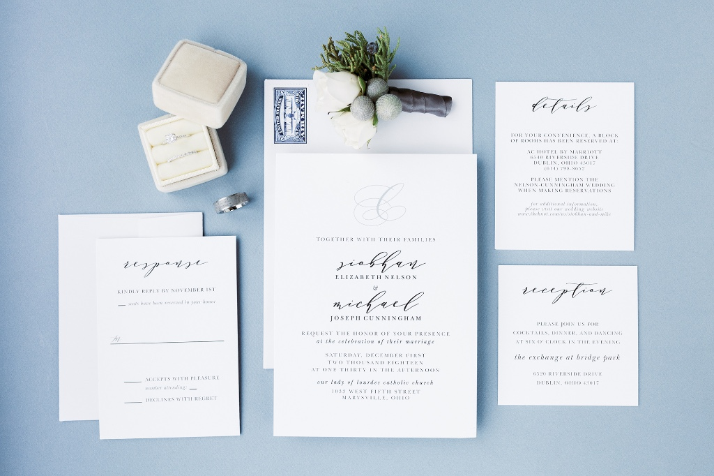 Our Charmed Monogram Wedding Invitation Suite is perfect for the minimalist bride!