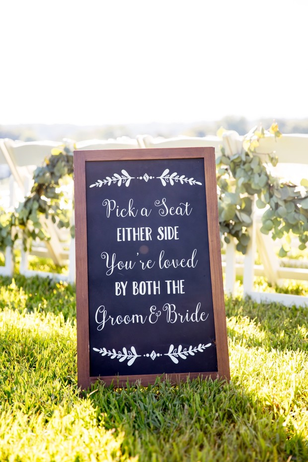 seating wedding sign